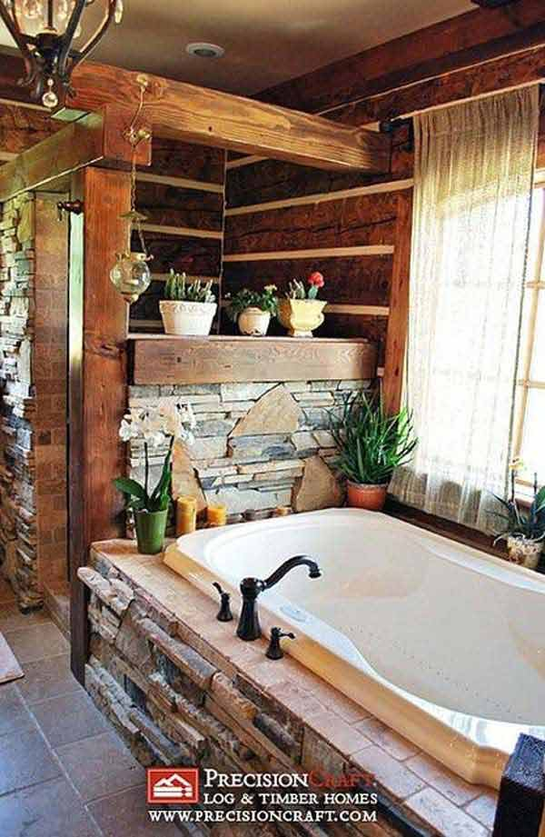 30 inspiring rustic bathroom ideas for cozy home amazing for Log home bathroom ideas