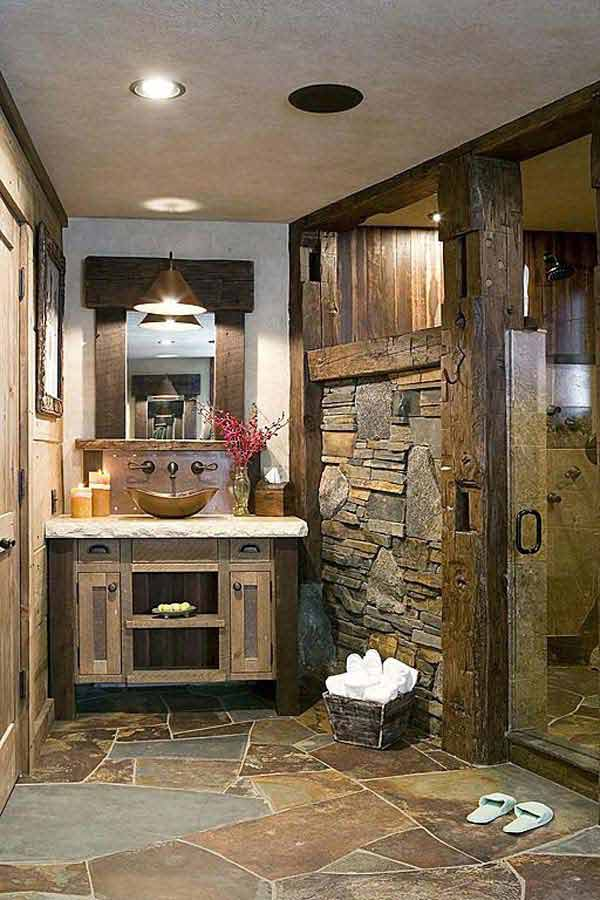 30 inspiring rustic bathroom ideas for cozy home amazing for Cabin shower tile ideas