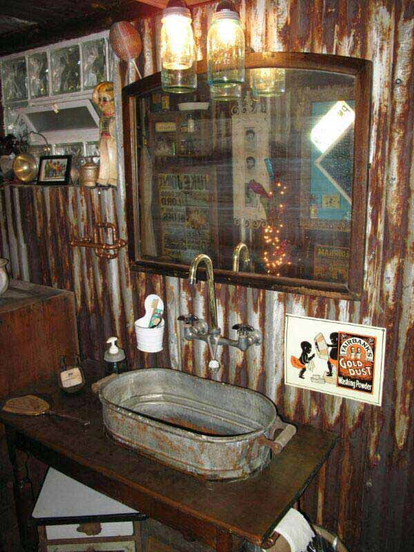 30 inspiring rustic bathroom ideas for cozy home ~ Waschbecken Zink