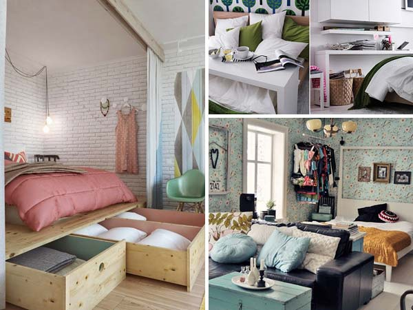20 tiny bedroom hacks help you make the most of your space for Tiny apartment storage ideas