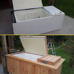 Old Refrigerator Into Rustic Backyard Cooler