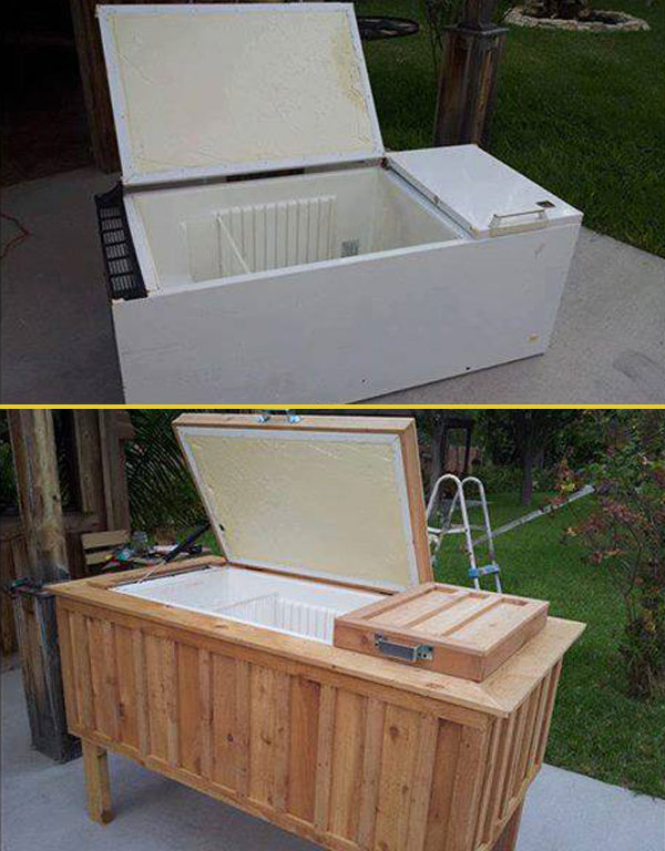 Old Refrigerator Into Rustic Backyard Cooler Amazing DIY