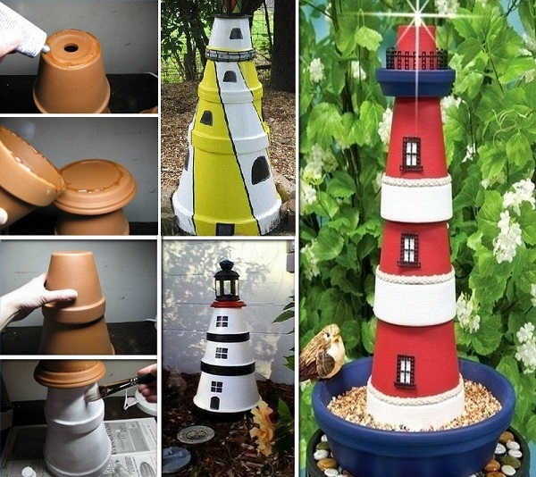 36 Breezy Beach Inspired Diy Home Decorating Ideas: Clay Pot Lighthouse For Garden Decor