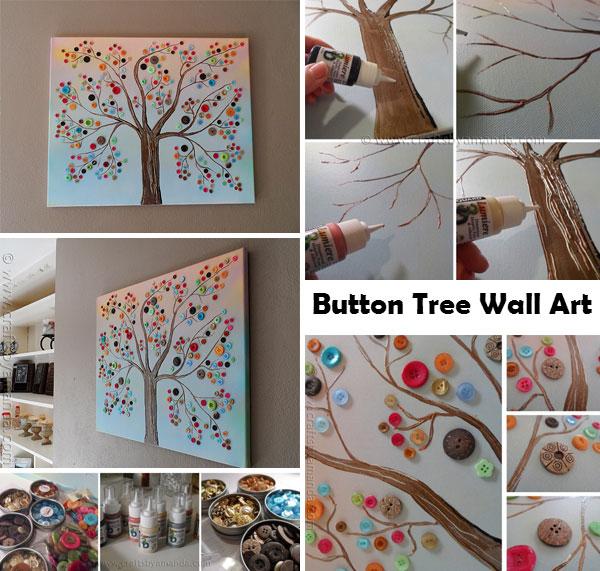 Fantastic DIY Button Tree Wall Decor