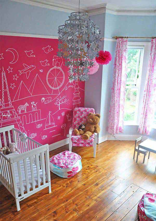 36 Exciting Ideas To Decorate Kids Rooms With Colored Chalkboard
