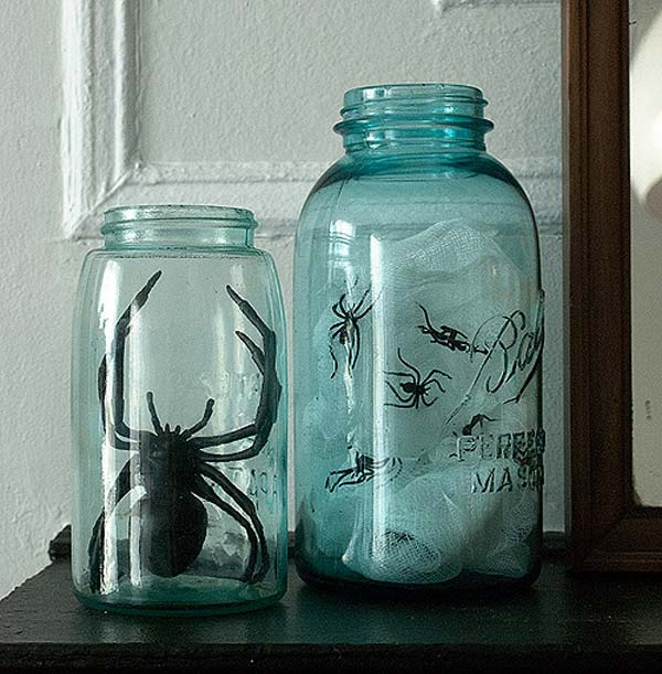 halloween inspired mason jars 16 - Diy Spooky Halloween Decorations