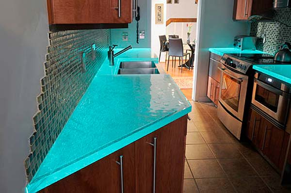 22 Modern And Stylish Glass Kitchen Countertop Ideas