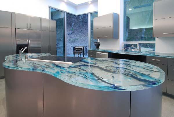 22 Modern and Stylish Glass Kitchen Countertop Ideas ... on Modern:0Bjn4Cem9Be= Kitchen Counter  id=36186