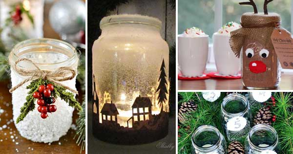 22 quick and cheap mason jar crafts filled with holiday spirit - Christmas Jar Decorations