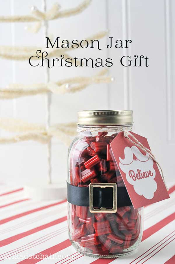 A cute mason jar Christmas gift idea for guys, or an inexpensive wedding gift idea for the groomsmen, this mini bar in a jar is super popular with both men and women. 8. DIY Beginner Sewing Kit Gift in a Jar.