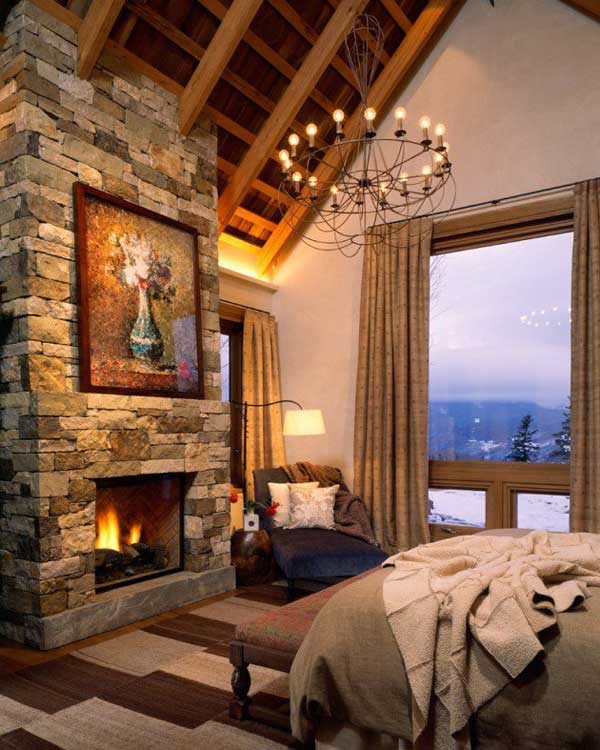 22 inspiring rustic bedroom designs for this winter for Cabin fireplace pictures