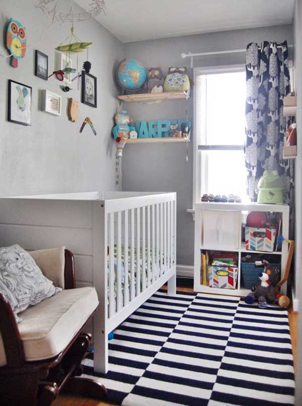 22 steal worthy decorating ideas for small baby nurseries for Cool boy nursery ideas