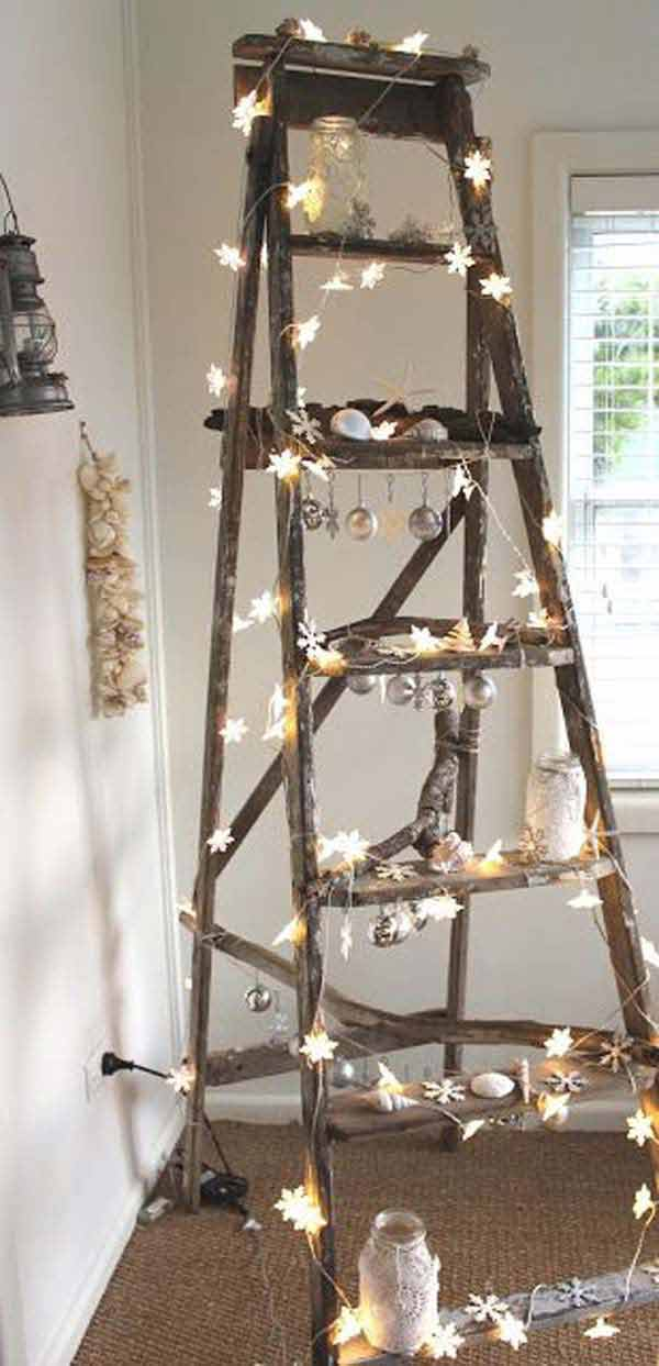 32 astonishing diy vintage christmas decor ideas amazing diy interior amp - Idee deco echelle bois ...