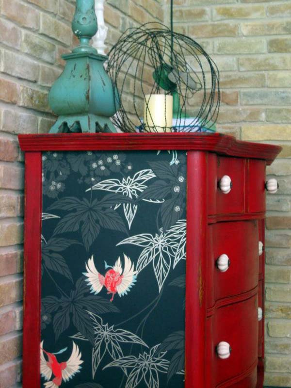 27 cool diy furniture makeovers with wallpaper amazing diy interior home design. Black Bedroom Furniture Sets. Home Design Ideas