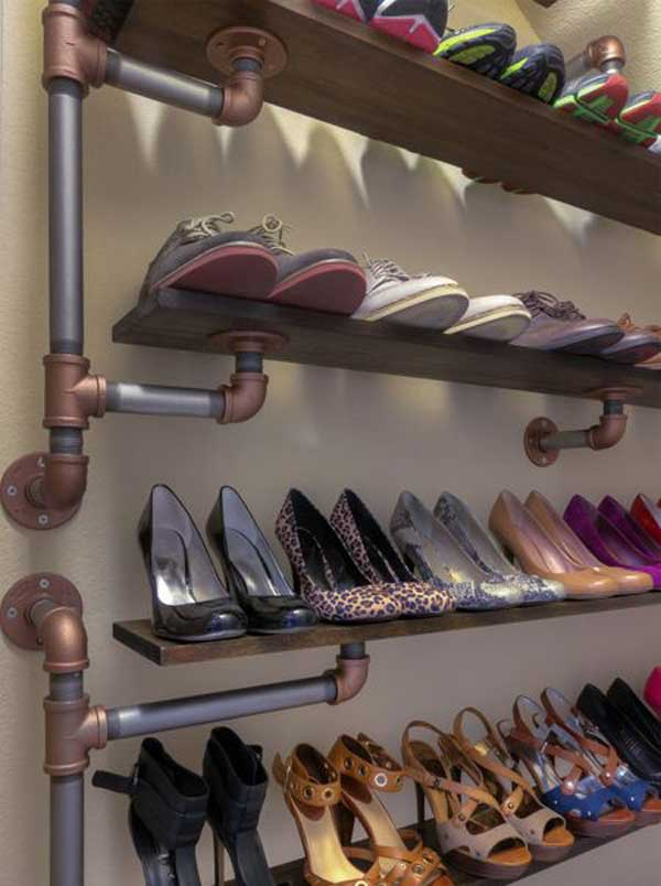 28 clever diy shoes storage ideas that will save your time. Black Bedroom Furniture Sets. Home Design Ideas