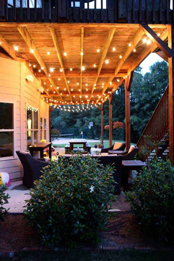 String Lights For Outdoor Deck : 26 Breathtaking Yard and Patio String lighting Ideas Will Fascinate You - Amazing DIY, Interior ...
