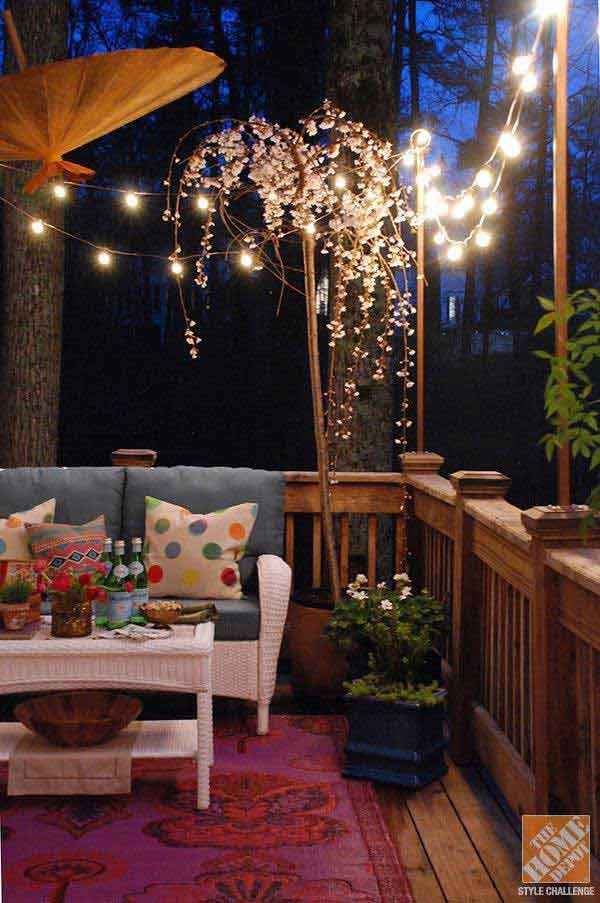 26 breathtaking yard and patio string lighting ideas will for Balcony lighting ideas