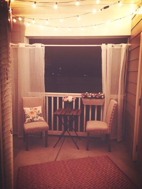 Small Patio Ideas Apartment Diy String Lights