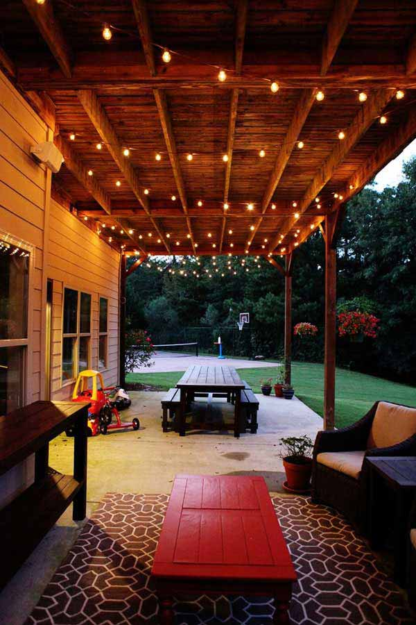 How To String Christmas Lights On Ceiling : 26 Breathtaking Yard and Patio String lighting Ideas Will Fascinate You - Amazing DIY, Interior ...