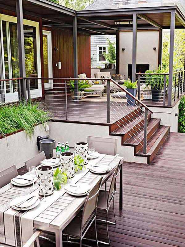 32 wonderful deck designs to make your home extremely for Beautiful garden decking