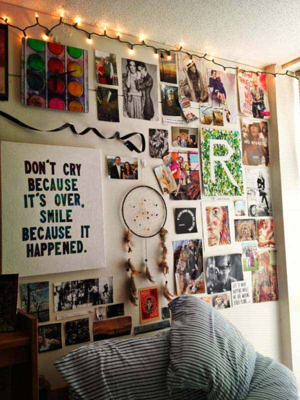 Top 24 simple ways to decorate your room with photos College dorm wall decor