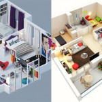 18 Impressive Apartment 3D Floor Plans with 2 Bedrooms