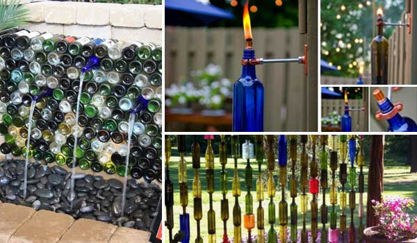 19 easy diy ideas decorate outdoor space with wine bottles for Homemade garden decor crafts