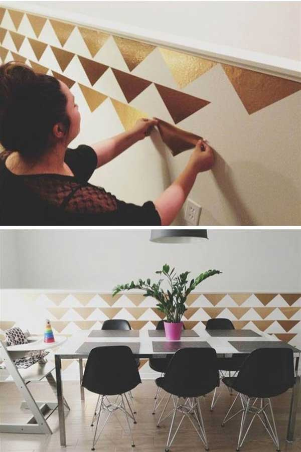 26 diy cool and no money decorating ideas for your wall for Wallpaper on walls home decor furnishings