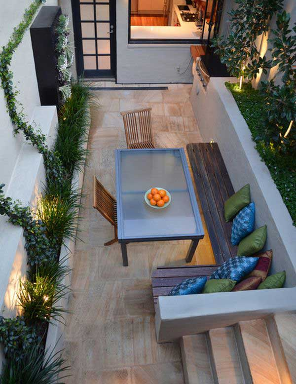 18 clever design ideas for narrow and long outdoor spaces - Tiny Patio Ideas
