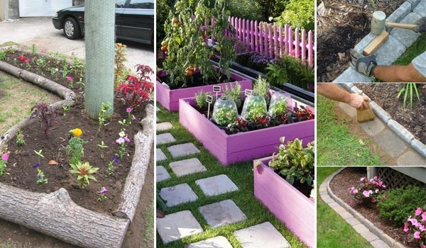 Cheap Garden Border Edging Ideas rustic softwood sleeper used t mulch Top 28 Surprisingly Awesome Garden Bed Edging Ideas