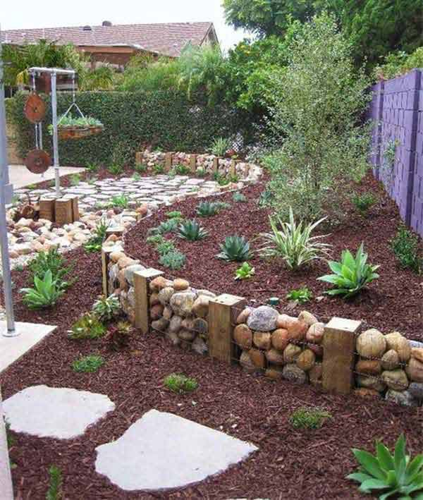 Garden Ideas tree stump garden planters Garden Bed Edging Ideas Woohome 2