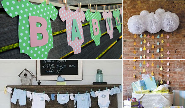 22 cute low cost diy decorating ideas for baby shower for Baby shower decoration ideas pinterest