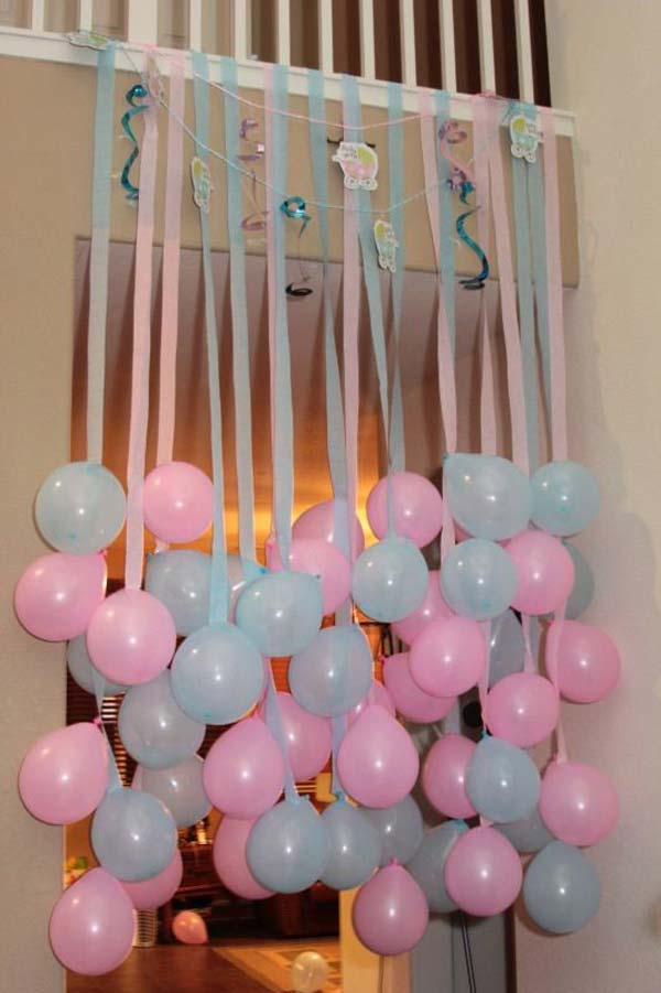 22 cute low cost diy decorating ideas for baby shower for Baby shower decoration ideas with balloons