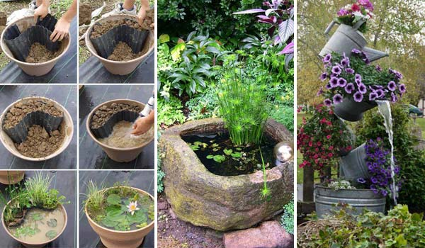 mini pond in a pot woohome : diy patio pond