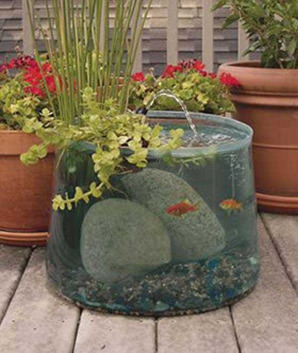 22 small garden or backyard aquarium ideas will blow your for Fish pond decorations