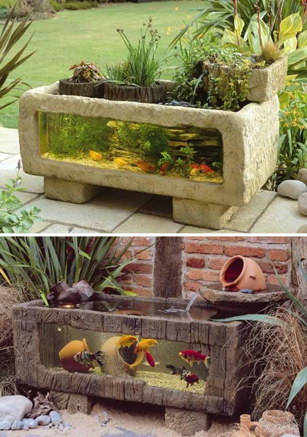 Wow 22 small garden or backyard aquarium ideas will blow for Outside fish pond