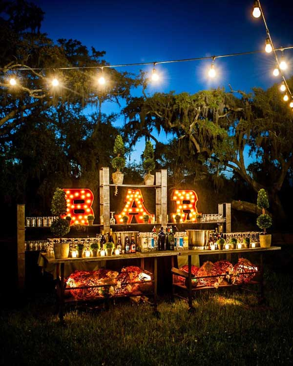 20 attractive and unique outdoor wedding bar ideas. Black Bedroom Furniture Sets. Home Design Ideas