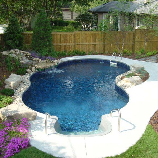 28 fabulous small backyard designs with swimming pool for Backyard inground pool designs