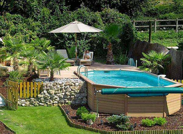 28 fabulous small backyard designs with swimming pool for Above ground pond ideas