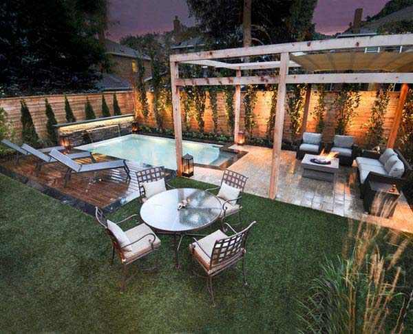28 fabulous small backyard designs with swimming pool for Outdoor living space plans