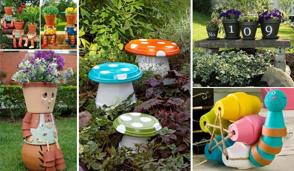 26 budget friendly and fun garden projects made with clay for Fun garden decoration ideas