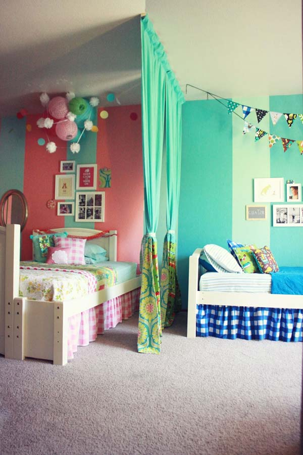 21 brilliant ideas for boy and girl shared bedroom - Kids Bedroom Decorating Ideas Girls