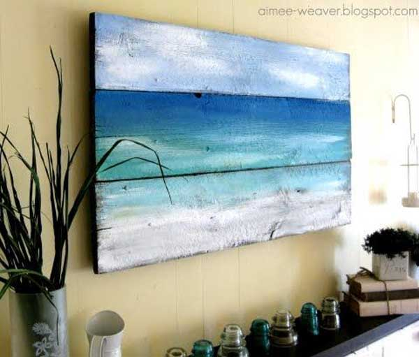 23 recycled pallet wall art ideas for enhancing your for Coastal wall decor ideas