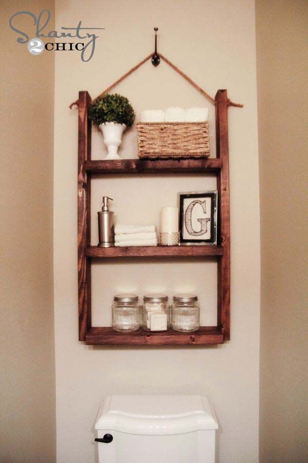 31 amazingly diy small bathroom storage hacks help you for Bathroom shelves design