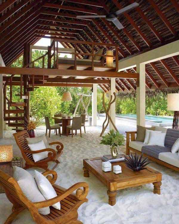 27 awesome beach style outdoor living ideas for your porch Home plans with outdoor living