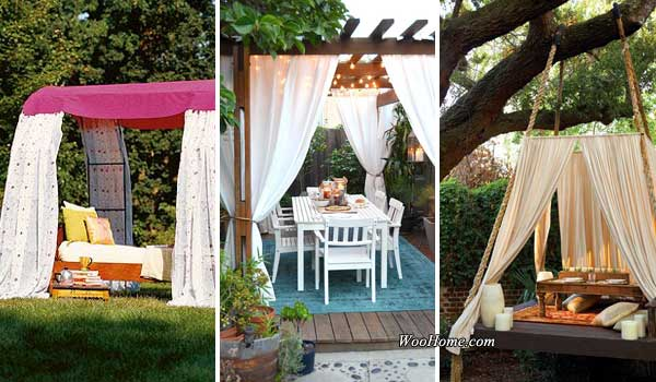 26 Ideas To Decorate Outdoor With Bright Fabrics In The Summer Days