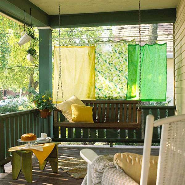 26 Ideas To Decorate Outdoor With Bright Fabrics In The