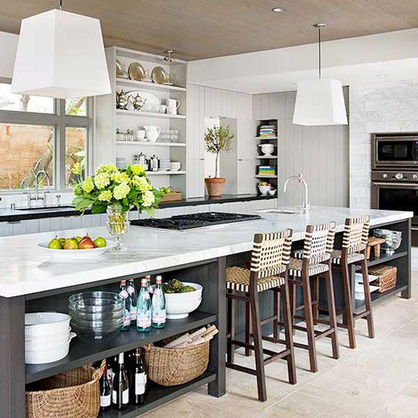 19 must see practical kitchen island designs with seating for Long kitchen ideas