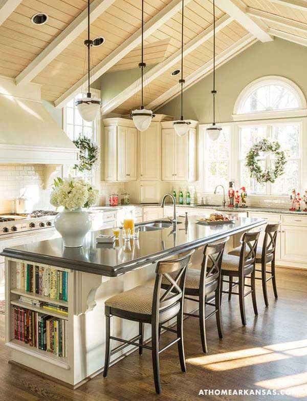 19 must see practical kitchen island designs with seating for Pottery barn style kitchen ideas