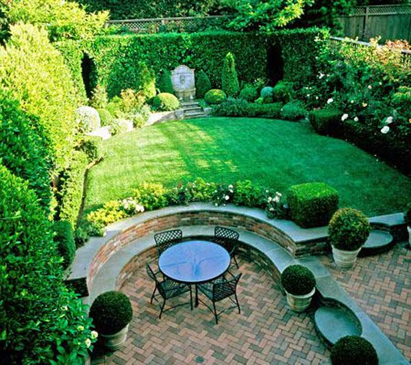 23 impressive sunken design ideas for your garden and yard for Garden ideas for patio areas